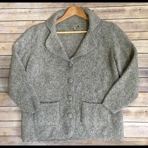 PERUVIAN LINK alpaca button front cardigan sweater